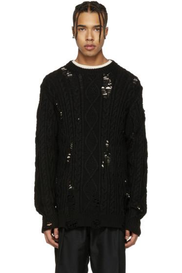 Miharayasuhiro - Black Distressed Cable Knit Sweater
