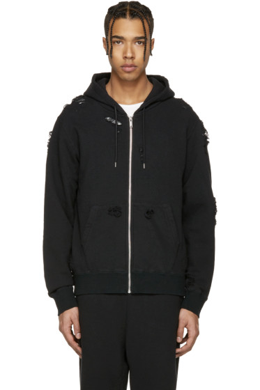 Miharayasuhiro - Black Distressed Zip-Up Hoodie