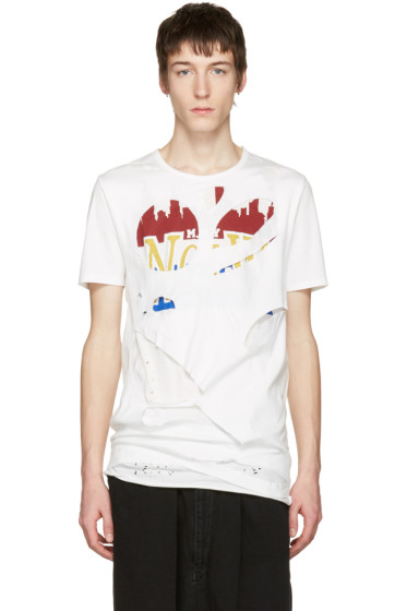 Miharayasuhiro - White Massive Hole and Print T-Shirt