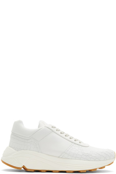 ETQ Amsterdam - Off-White Croc-Embossed Delta Sneakers