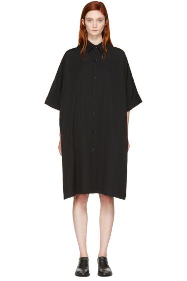 Yohji Yamamoto - Black Mid-Length Shirt Dress