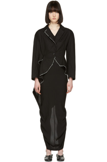 Yohji Yamamoto - Black Stitched Tailcoat Blazer