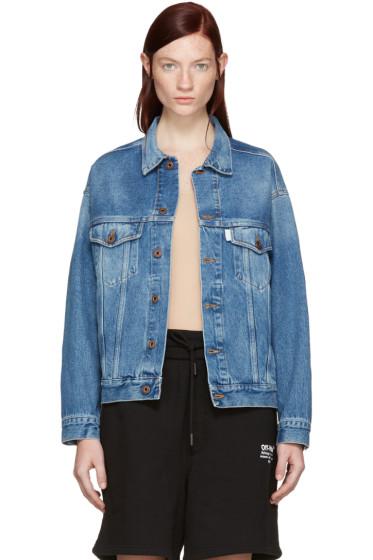 Off-White - Blue Denim Sprayed Diagonals Jacket