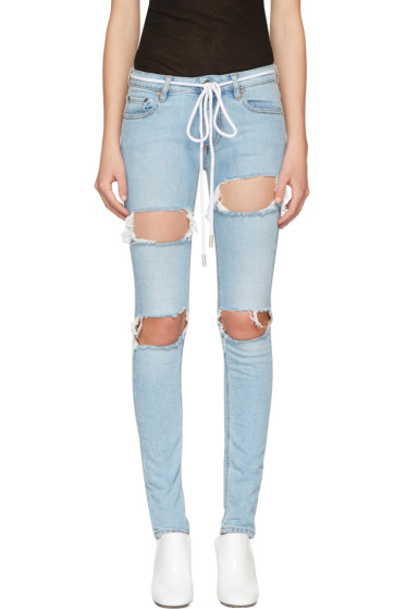 Off-White - Blue Diagonal Ripped Skinny Jeans