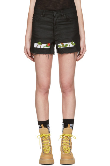 Off-White - Black Denim Roses Shorts