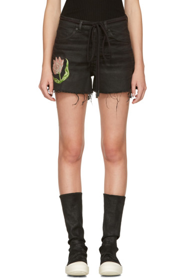 Off-White - Black Denim Tulip Shorts
