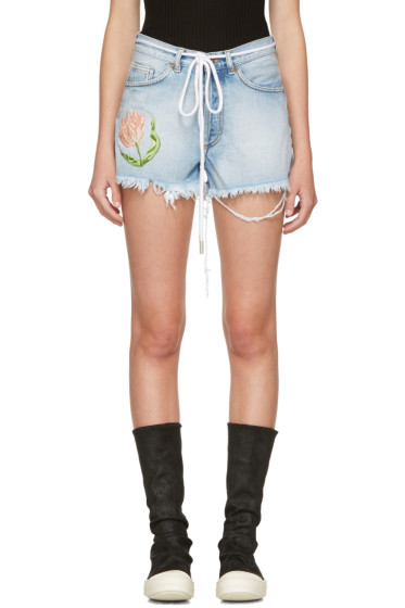 Off-White - Blue Denim Tulip Shorts