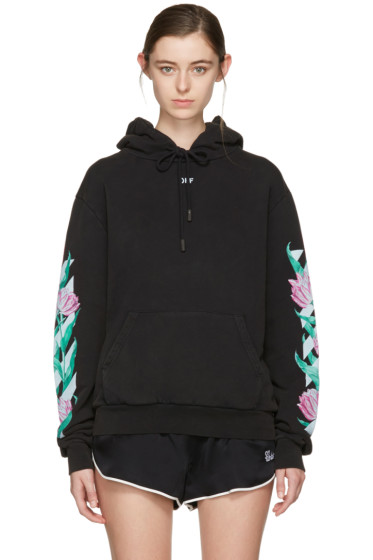 Off-White - Black Diagonal Tulips Hoodie