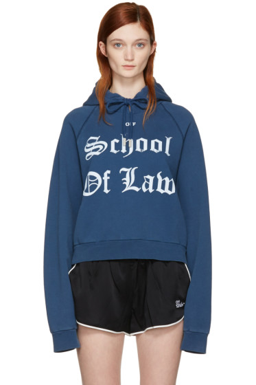 Off-White - Blue 'Diana' Pleated Hoodie