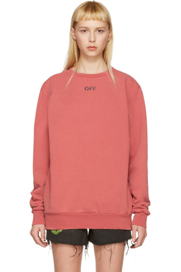 Off-White - Red Washed Crewneck Pullover