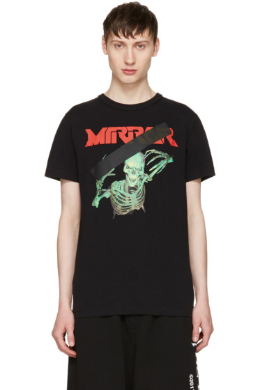 Off-White - Black Skull Mirror T-Shirt