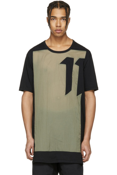 11 by Boris Bidjan Saberi - Black & Green Block Cut T-Shirt