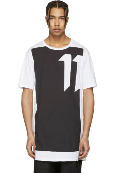 11 by Boris Bidjan Saberi - White & Black Block Cut T-Shirt