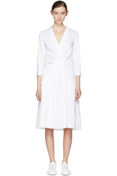 Jil Sander Navy - White Collared Poplin Dress
