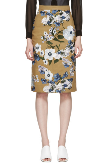 Erdem - Tan Embroidered Skirt