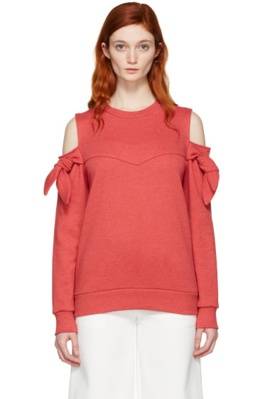 SJYP - Red Off-Shoulder Knotted Pullover