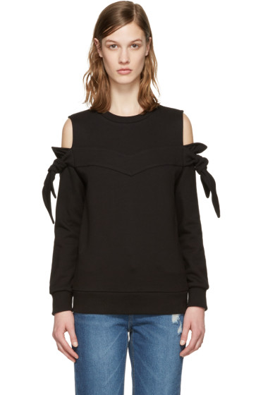 SJYP - Black Off-Shoulder Knotted Pullover