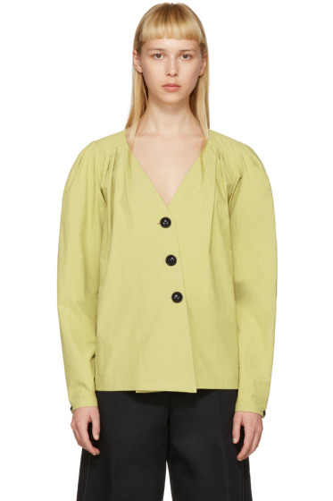 Lemaire - Green Deep V-Neck Shirt