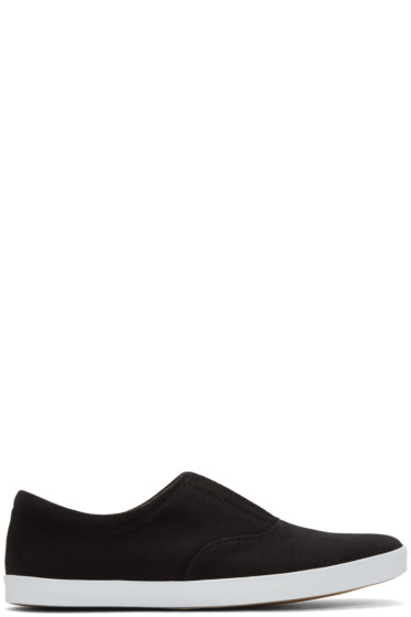 Lemaire - Black Twill Slip-On Sneakers