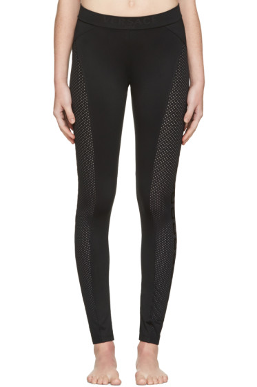 Versace Underwear - Black Perforated Leggings