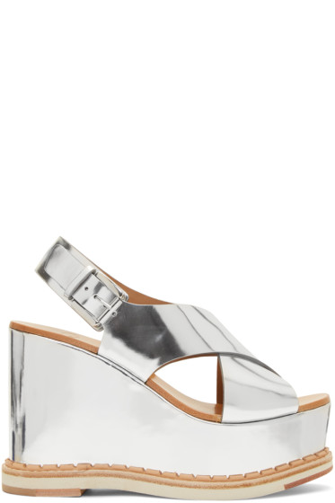 Flamingos - Silver Mirror Trendy Wedge Sandals