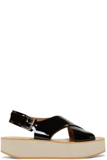 Flamingos - Black Patent Malabar Sandals
