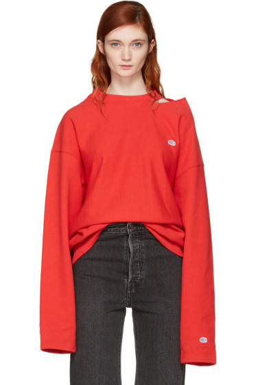Vetements - Red Champion Edition Cut-Out Neckline Sweatshirt