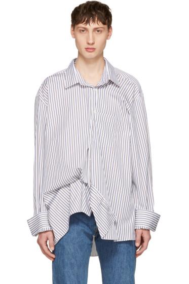 Vetements - Brown & Navy Comme des Garçons Shirt Edition Asymmetric Packshot Shirt