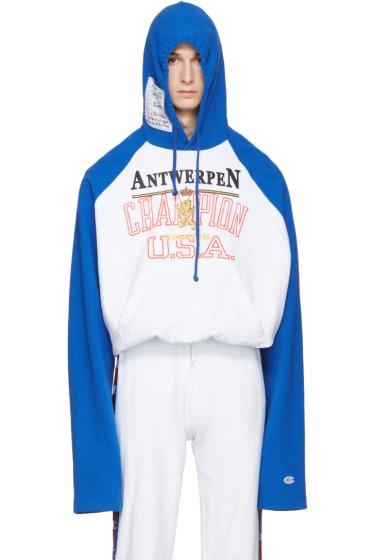 Vetements - Blue Champion Edition Antwerpen Hoodie