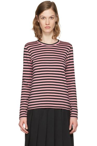 Comme des Garçons Girl - Pink Striped Long Sleeve T-Shirt