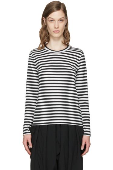 Comme des Garçons Girl - ホワイト & ブラック ストライプ T シャツ