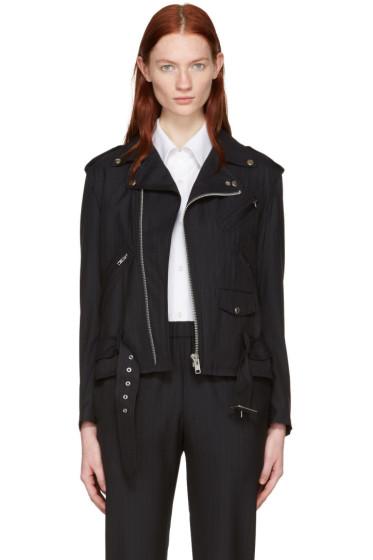 Comme des Garçons Comme des Garçons - Navy Pinstriped Wool Motorcycle Jacket