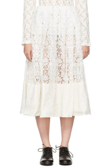 Comme des Garçons Comme des Garçons - Off-White Lace Gathered Skirt