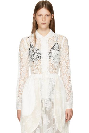 Comme des Garçons Comme des Garçons - Off-White Lace Collared Shirt