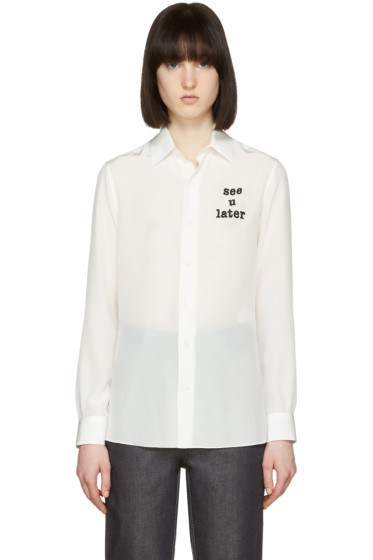 Loewe - White 'See U Later' Silk Shirt