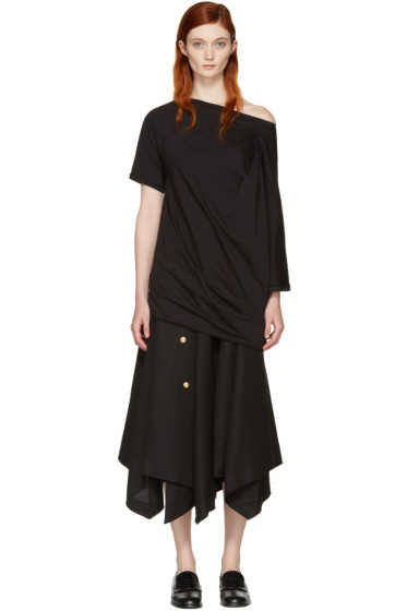 Loewe - Black Asymmetric Draped T-Shirt