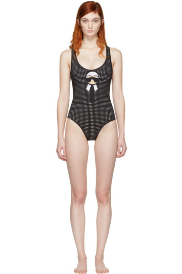 Fendi - Black Perforated Karlito Swimsuit