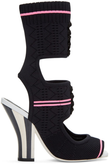 Fendi - Black Stretch Sock Sandals