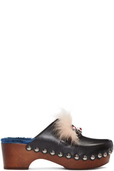 Fendi - Black 'Fendi Faces' Clog Heels