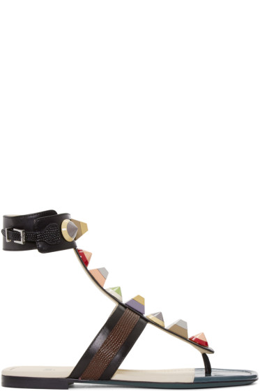 Fendi - Black Rainbow Thong Sandals