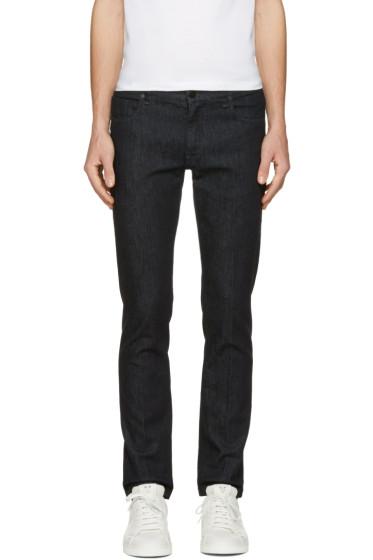 Fendi - Navy Embroidered Zig Zag Pocket Jeans
