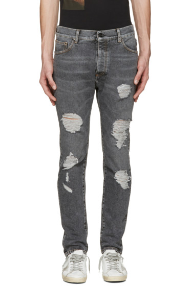 Palm Angels - Black Regular Fit Ripped Jeans