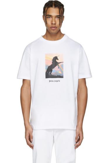 Palm Angels - White 'Unicorns Do Exist' T-Shirt