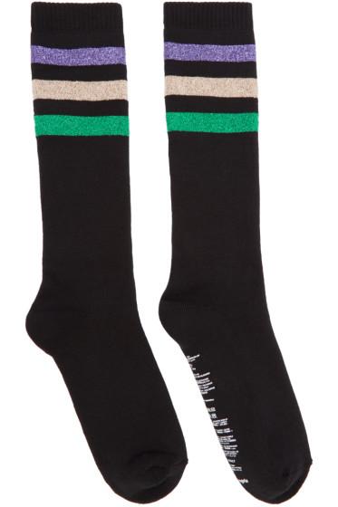 Palm Angels - Black Lurex Stripes Socks