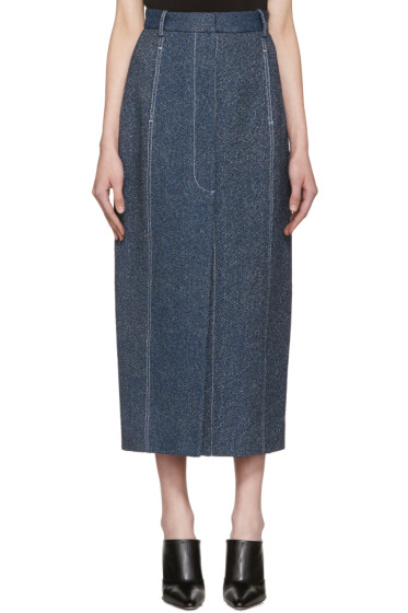 Rosetta Getty - Indigo High-Rise Straight Skirt