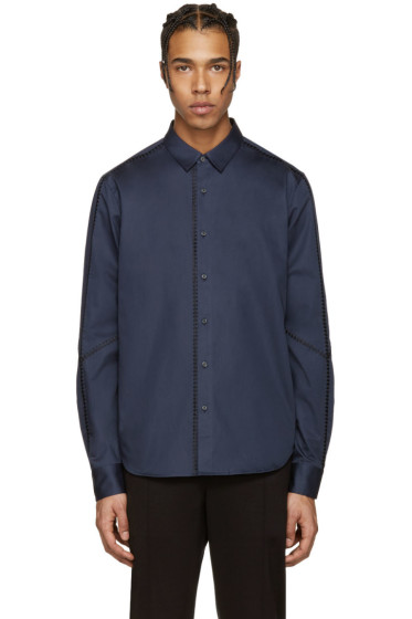 Wooyoungmi - Navy Cotton Stitching Shirt