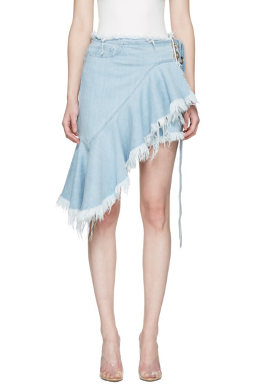 Marques Almeida - Blue Denim Belted Wrap Miniskirt