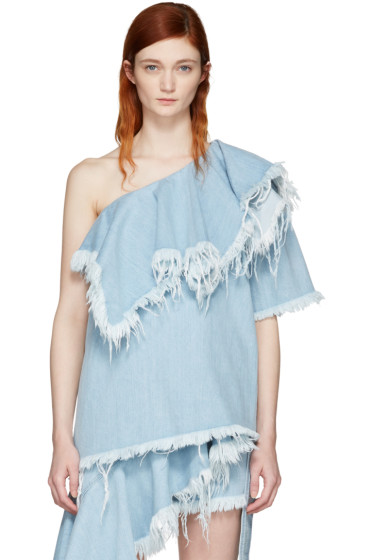 Marques Almeida - Blue Denim Cha Cha Diva Single-Shoulder Blouse