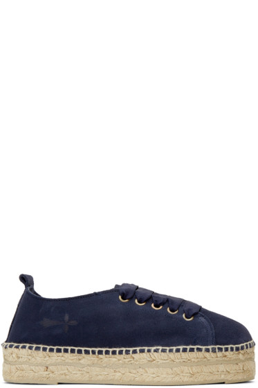 Manebí - Blue Suede Hamptons Lace-Up Espadrilles