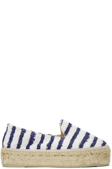 Manebí - White Striped Paris Espadrilles